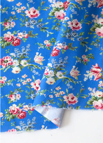 Blue Flowers Cotton Fabric, Floral Cotton Fabric - By the Yard 88619
