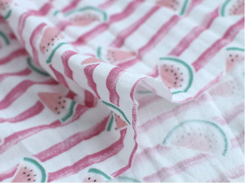 Watermelon Cotton Gauze Fabric with Red Stripes, Double Gauze Fabric - 62 Inches Wide - By the Yard 89656