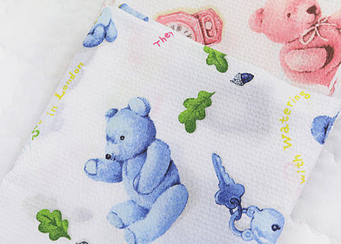 Cotton Fabric Seersucker Teddy Bear - Blue - By the Yard 35829