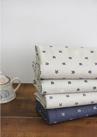 Arrows Cotton Linen Fabric - Purple, Navy, Gray or Gray Ground - 57 Inches Wide - By the Yard V01 88187