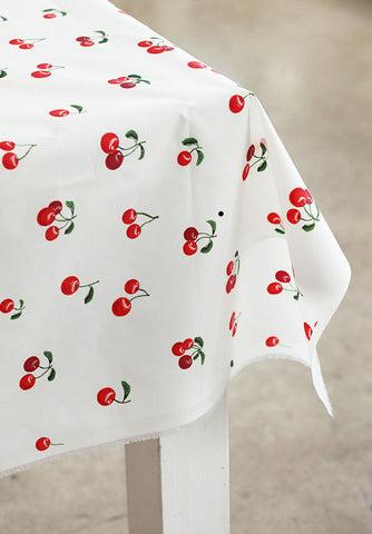 Red Cherry Waterproof Fabric - 59 Inches Wide - By the Yard 90575