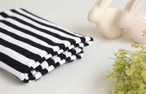 Stripe Cotton Knit, Stripe Jersey Knit, Stretchy Knit Fabric - Black & White - 70 Inches Wide - By the Yard 50368v