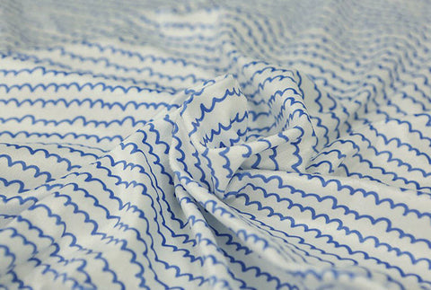 Blue Wavy Lines Smooth Minky Fabric - 59 Inches Wide - By the Yard