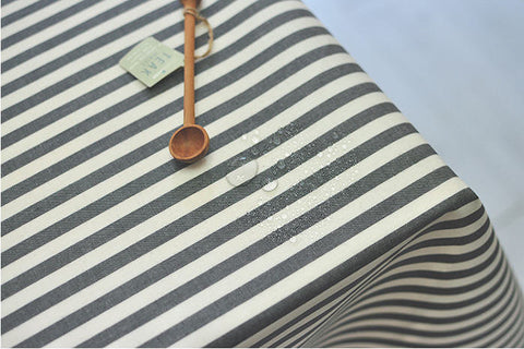 8 mm Black Stripe Laminated Cotton Fabric - By the Yard 93011