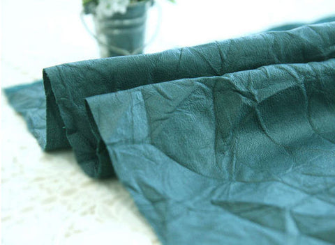 Fake Leather Fabric, Imitation Leather, Artificial Leather, Synthetic Leather Fabric - Peacock Green - 55 Inches Wide - By the Yard 83106