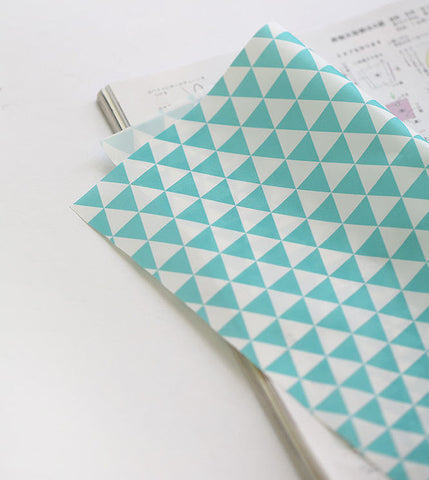 Waterproof Fabric, Mint Triangles, Geometric - 59 Inches Wide - By the Yard