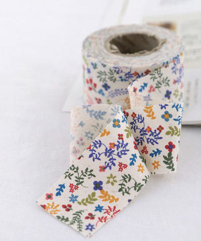 3.5 cm Cotton Bias - Color Flowers - 10 Yards - By the Roll -89180