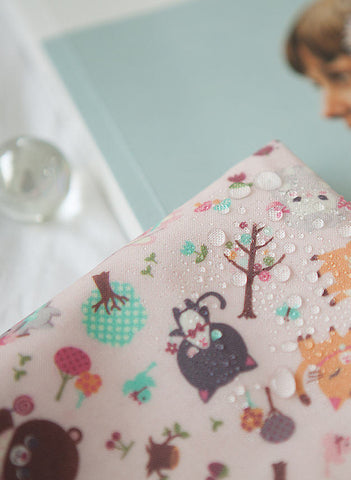 Laminated Cotton Fabric - Candy Animals in Baby Pink - By the Yard 92575