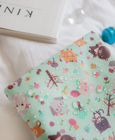 Laminated Cotton Fabric - Candy Animals in Mint - By the Yard 92576
