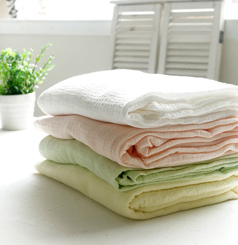 Wrinkled Cotton Gauze - White, Peach Pink, Light Green or Lime Yellow - 57 Inches Wide - By the Yard 92131