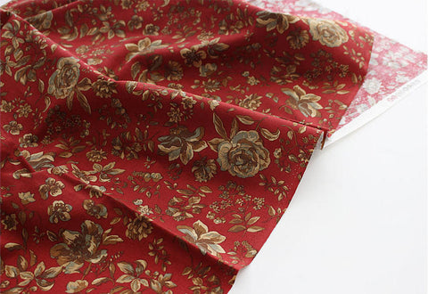 Autumn Flowers Cotton Fabric - Red - By the Yard 94102