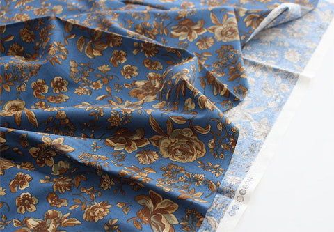 Autumn Flowers Cotton Fabric - Blue - By the Yard 94102