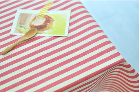 8 mm Red Stripe Laminated Cotton Fabric - By the Yard 93007