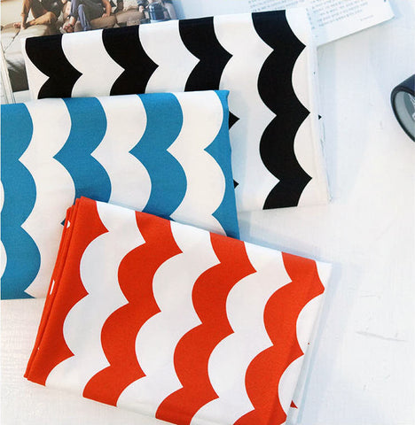 Wavy Lines Oxford Cotton Fabric, Geometric Fabric - Black, Blue or Orange - By the Yard 92482