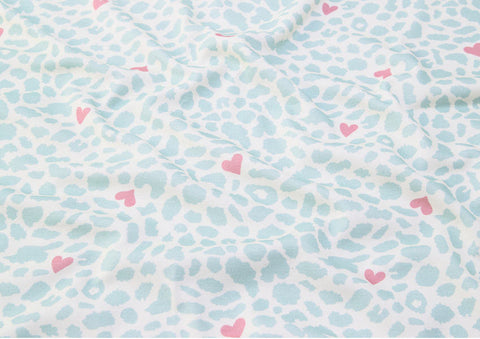 Cotton Interlock Knit - Leopard and Hearts - Mint - By the Yard (33 x 36