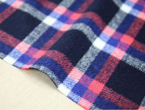 Wool Blend Plaid Fabric, Navy Pink Plaid Fabric - By the Yard 95959