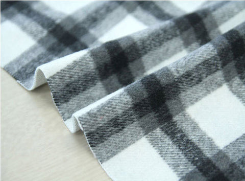 Wool Blend Plaid Fabric, Black Plaid Fabric - By the Yard 95961