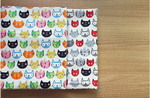 (NEW!) Cats Fabric, Cats Oxford Fabric, Animal Fabric - Red Black or Multi Colors - Fabric By the Yard 94601