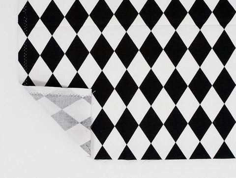 (NEW!) Diamond Fabric, Black and White Fabric, Geometric Cotton Fabric - Fabric By the Yard 84368
