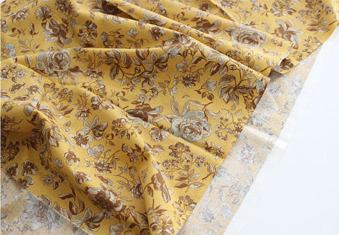 Autumn Flowers Cotton Fabric - Mustard - By the Yard 94102
