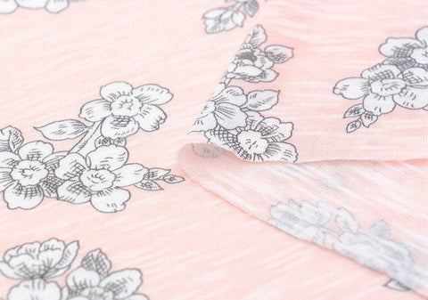 Flowers Cotton Knit, Stretchy Knit Fabric, Slub Knit Fabric - Pink - By the Yard 73192 - GJ