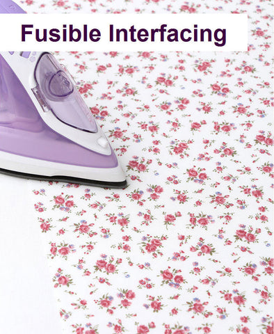 (NEW!) Fusible Interfacing, Printed Interfacing, Floral Interfacing - White and Red- By Half Yard 34531 GJ