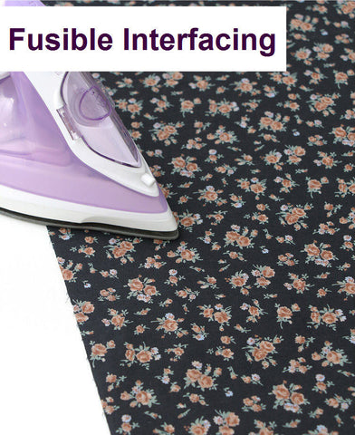 (NEW!) Fusible Interfacing, Printed Interfacing, Floral Interfacing - Black and Orange - By Half Yard 34530 GJ