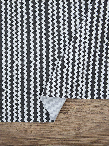 Waves Cotton Fabric, Black and White Fabric, Washing Cotton, Stripe Fabric - 59