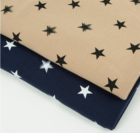 Stars Cotton Knit Fabric, Stretchy Fabric - Beige or Navy - 66