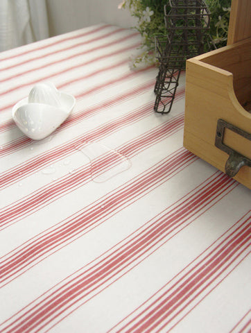 Natural Striped Red Laminated Cotton Fabric   By The Yard 96189