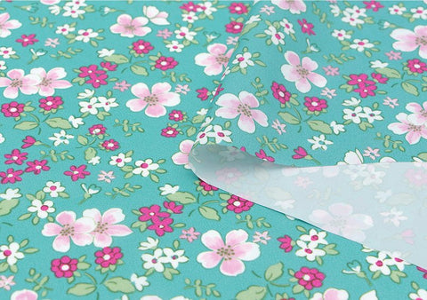 Flowers Waterproof Fabric Floral Print, Mint Blue - By the Yard 73539 GJ