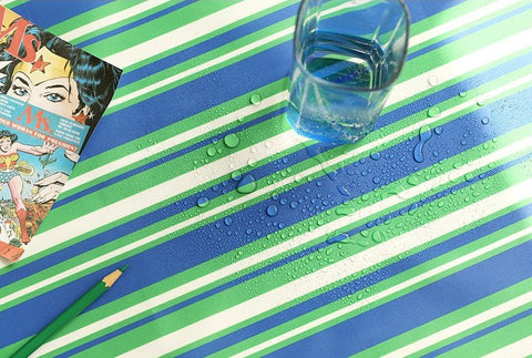 Green Blue Stripes Waterproof Fabric 59 Inches Wide - Fabric By the Yard 96977