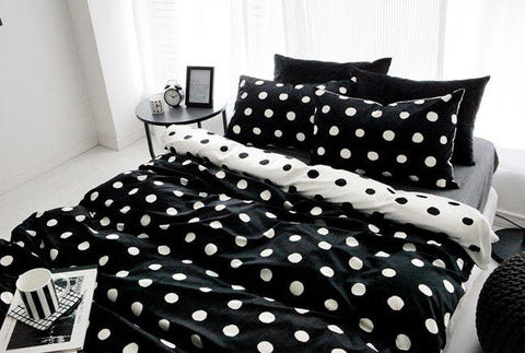 White Dots Smooth Minky Fabric - White Dots on Black - 59