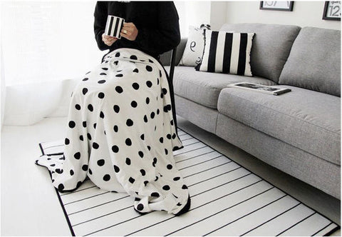 Black Dots Smooth Minky Fabric - Black Dots on White - 59