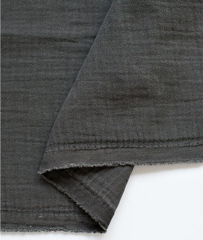 Charcoal Wrinkled Cotton Double Gauze, Crinkle Gauze, Yoryu Gauze, Charcoal Color Gauze - 59