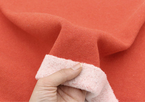 Brushed French Terry Knit Fabric, Cotton French Terry Knit, Stretchy Fabric, Red Orange French Terry Knit - By the Yard 75973 GJ