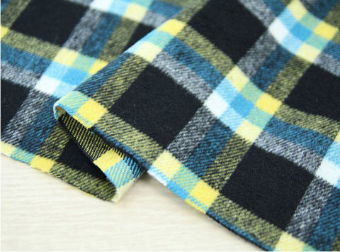 (NEW!) Wool Blend Plaid Fabric, Black Yellow Plaid Fabric - By the Yard 95960