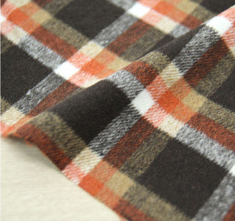 (NEW!) Wool Blend Plaid Fabric, Brown Orange Plaid Fabric - By the Yard 95962
