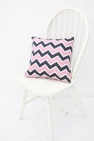Chevron Oxford Cotton Fabric, Pink Black Zig Zag Fabric, Geometric Fabric, Wide Width - By the Yard 95940