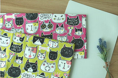 (NEW!) Cats Fabric, Cats Oxford Fabric, Animal Fabric - Pink or Green - Fabric By the Yard 94600