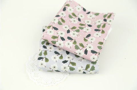 (NEW!) Flowers Cotton Fabric, Floral Fabric - Pink or Gray - Fabric By the Yard 92083