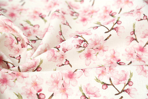 Cherry Blossom Linen Blend Fabric, Flower Cotton Linen Fabric, Digital Printing Fabric - 59