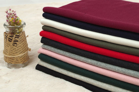 2x1 Ribbing Knit Fabric, Half Yard - Navy, Ivory, Khaki, Red, Charcoal, Heather Gray, Pink, Dark Green, Oatmeal or Black - 94906