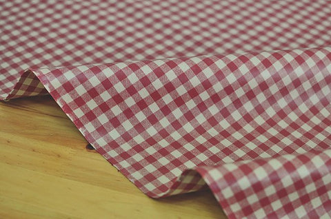 Laminated 1 cm Country Check Cotton Fabric in Red - By the Yard 96873