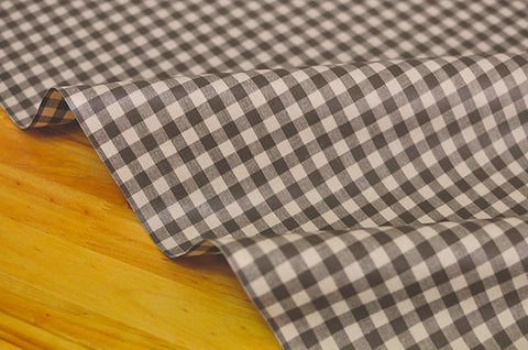 Laminated 1 cm Country Check Cotton Fabric in Brown - By the Yard 96870