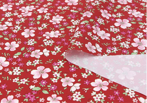 Flowers Waterproof Fabric Floral Print, Red - By the Yard 73538 GJ