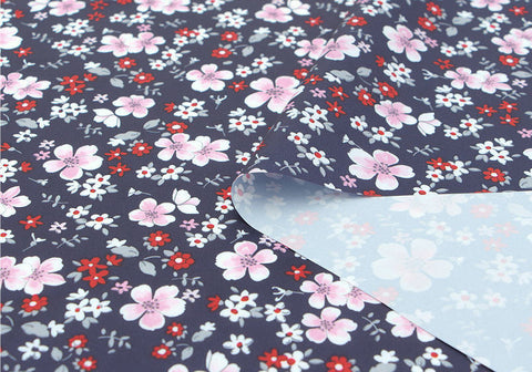 Flowers Waterproof Fabric Floral Print, Navy - By the Yard 73537 GJ