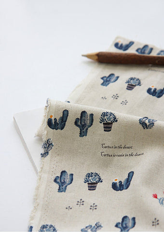 Cactus Cotton Linen Fabric, Blue, 57