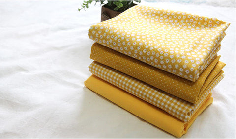 Yellow Cotton Fabric, Flowers, Polka Dots, Plaid or Solid - By the Yard 100403