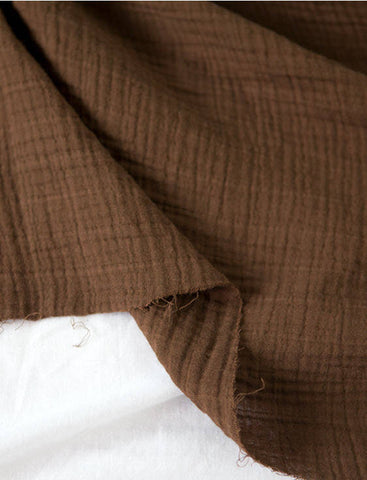Brown Wrinkled Cotton Gauze, Double Gauze, Brown Gauze, Crinkle Gauze, Yoryu Gauze - 59
